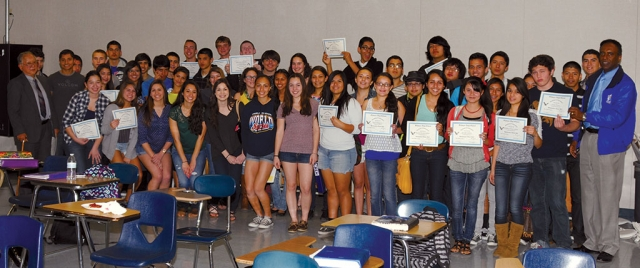 The Renaissance Awards Luncheon was attended by Fillmore High School Principal Russon Mesfun, far right, and Superintendent Dr. Alan Nishino, far left, along with about 50 honorees. Fillmore High School recognizes its academically distinguished students during the Renaissance Awards. Students who earned 3.5 GPA and above received Certificates of Achievement during the event held Friday afternoon, February 21st.