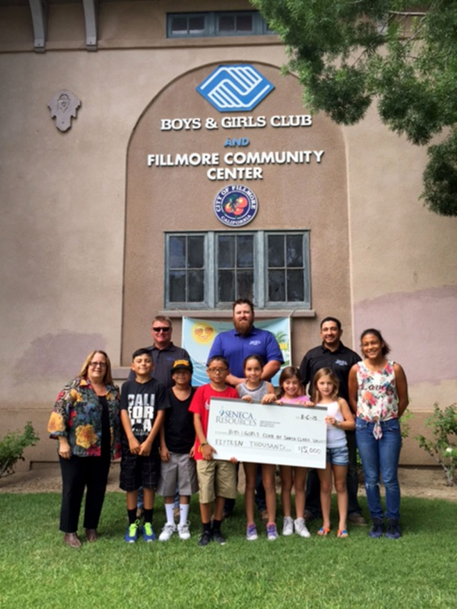 Chris McDermot, Luke Faith and Joey Salazar from Seneca Resources presenting the Boys & Girls Club of Santa Clara Valley $15,000 for their STEM programs. Thank you Seneca Resources!!