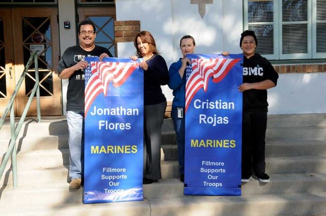 New military banners were presented in front of the Fillmore Unified School District on Wednesday, November 18th. The Flores and Rojas families were proud to take part in the ceremony on behalf of Jonathan Flores and Cristian Rojas, both now serving in the U.S. Marine Corps. Members of Fillmore's local VFW Post 9637 were also in attendance to honor those who serve.
