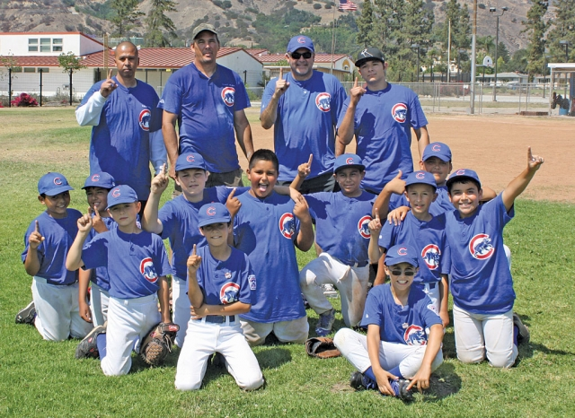 Congratulations to our Little League Minor A Fillmore Cubs who won their TOC Championship game Saturday, June 8th in Fillmore defeating Montalvo 5-4. This was Fillmore's first championship in recent memory for the Minor A division in the Tournament of Champions. In addition to the win over Montalvo the Cubs had road wins over Ojai and Santa Paula. The Cubs would like to thank all of those who came out to support them this past Saturday. Pictured above: Back row from left to right coaches: Frank Cantero, Robert Ferguson, Damon Villa, & Victor Gomez. Middle row from left to right players: Phillip Villanueva, Hector Cervantes, Connel Ferguson, Santos Valdez-Cortez, Nick Jimenez, & Joseph Andrade. Front row from left to right players: Seth Ellis, Damon Villa, George Mooradian, Jacob Cantero, & Jared Schieferle.