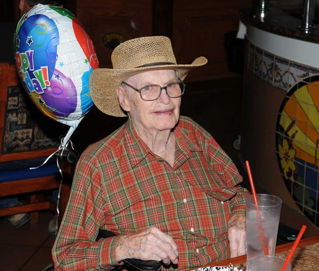 Bert Bigham celebrated his 96th birthday with a group of friends from the El Dorado Mobilehomes Bunko group. The partiers enjoyed a meal at El Pescador. Bert was an elementary school teacher and counselor in Fillmore for many years.