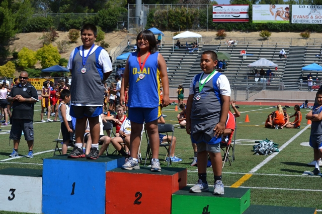 (l-r) Enrique Mora 1st place shotput, 4th Place Noah Campbell shotput