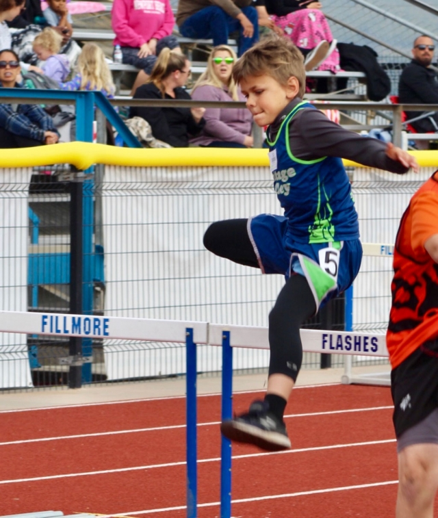 Pictured is a Fillmore Heritage Valley Blazers as he leaps over the hurdles in the races this past Saturday at the Conference Finals, which were held at Fillmore High School. Photos Courtesy Erik Arana.