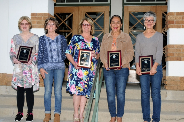 FUSD retirees were recognized at the Board meeting, June 4th. Pictured are a few of this year's retirees: l-r, Elizabeth Munoz, Joanne Fore, Barbara Lemons, Rosalia Lizarraga, and Joyce Stines. Not pictured Gilda Bricker, Raymond Garcia, Scott Olson, Isabel Ramirez, William Raymond, and James White.
