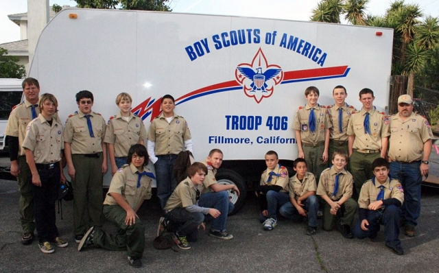 Boy Scouts of Troop 406 proudly show off their newly refurbished trailer purchased with funds from the Gene Wren Memorial Account. The new signage was designed and installed by Kelly Cassidy of Fillmore. Now the Scouts can carry all their camping equipment together thanks to the Gene Wren donations!