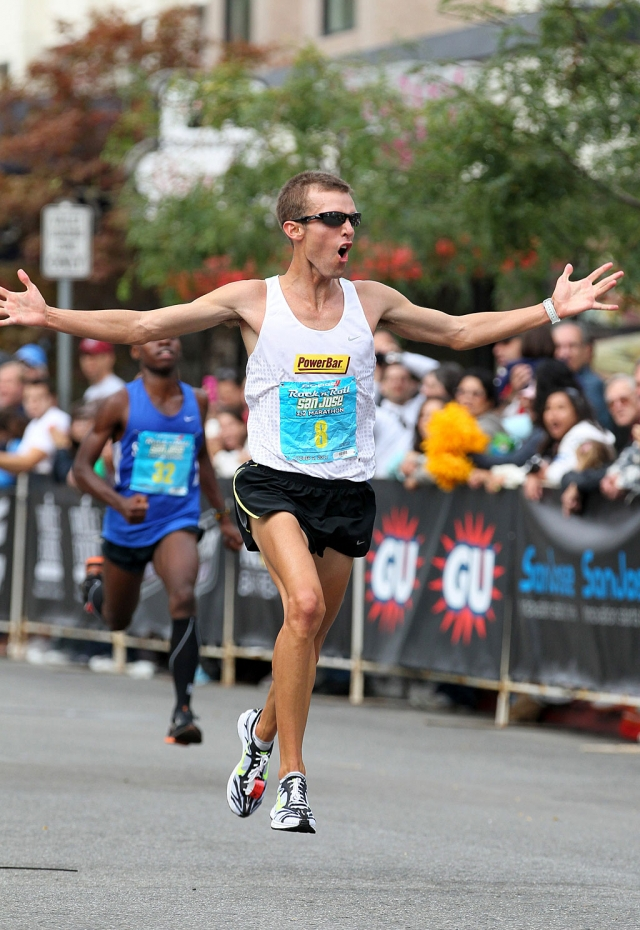 Last Sunday, Brian Ball participated in the San Jose Rock 'n' Roll Marathon. Above Ball celebrates because he beat the qualifying time to go on to the 2012 Olympic Marathon Trials in Houston, Texas. Ball said he needed to run 1 hr 5min flat or faster to qualify, and he ran 1hr 4min 49sec, giving him a good ll second cushion for his first U.S. Olympic Trials. After the race Ball proposed to his girlfriend Hayley Rasmussen of Reno, Nv. Ball is from Fillmore California.