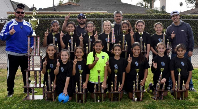 California United U-11 Girls Champions. Top row (l-r): Marlene Gonzales, Fatima Alvarado, Isabel Hernandez, Mikayla