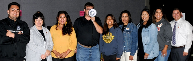 Pictured at extreme right, Dr. Jesus Vega with students at Santa Paula campus.