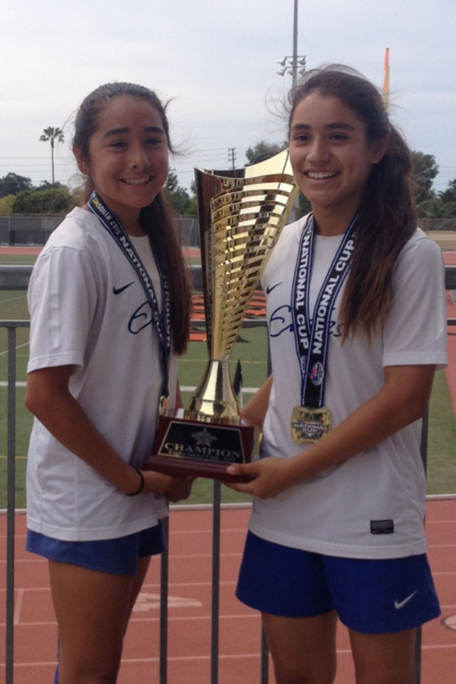 (l-r) Valerie Tobias and Jalynne Magana. Eagles girls U13 soccer club defeated Legends 2-1 Sunday 03/15/2015 in the championship game at Ventura College Sportsplex and captured the National Cup title and will be advancing to Far West Regional Championship games that will be held Boise Idaho late June 2015.  Club is composed players from Camarillo, Ventura, Oxnard, Newbury park, Pasadena and these to ladies from Fillmore.