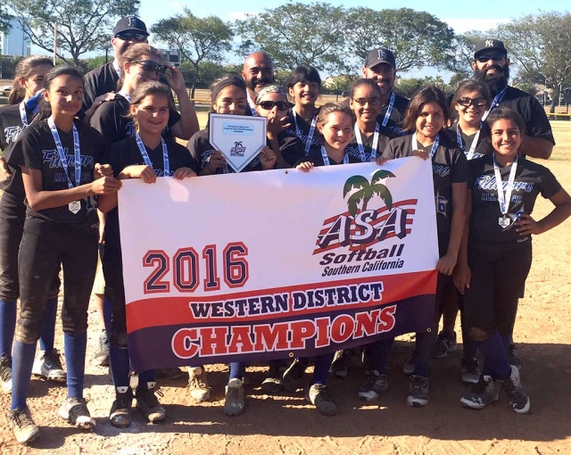 Congratulations to the Fillmore Girls Softball 12U Division on becoming Western District Champions. Players: (l-r) Amber Cervantez, Zoie Isom, Ebony Venegas, Alexis Sanchez, Lily Murillo, Kayleen Jacinto, Alyssa Ocegueda, Anika Lopez, Jordyn Blankenship, Emma Ocegueda, Jazalyn Ramos, Aaliyah Arias. Coaches: Tim Isom, Beany Venegas, Pokey Sanchez and Rudy Murillo.