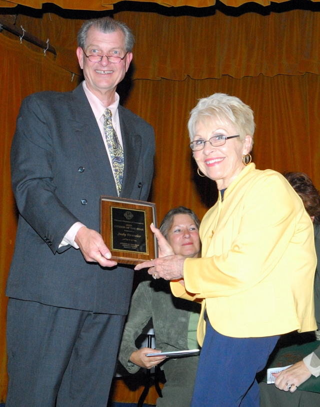 Citizen of the Year Judy Dressler with Mike McMahon.