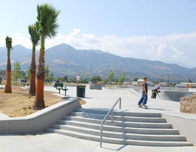 Two Rivers Skate Park is taking shape. Sprinklers were being installed on Tuesday, several varieties of trees have been planted, restrooms are up, and fencing is about to be installed. Shown is the skate portion of the 22-acre park with some newly planted Palms.