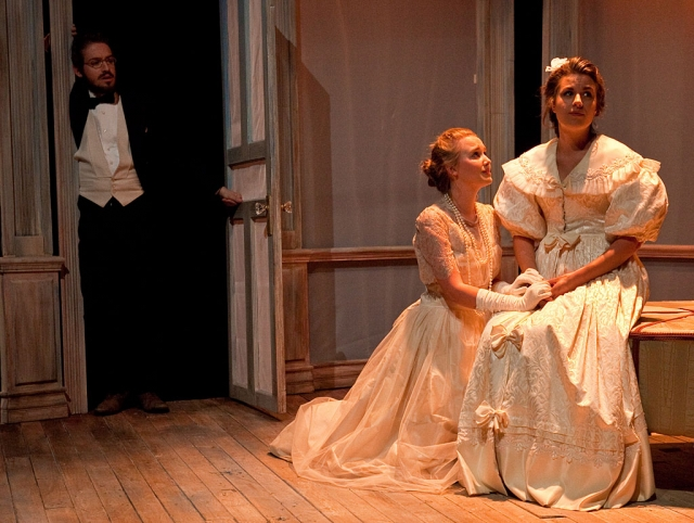 "(l-r) The cast of CLU's ""The Cherry Orchard"" includes Jordan Skinner as Trofimov, Jessica Butenshon as Anya and Elyse Sinklier as Ranevskaya."