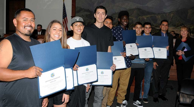 "Fillmore High School Basketball Team was recognized at last nights Fillmore City Council meeting for promoting sportsmanship to the youth in our community ""as a Youth Basketball Referee for the 2016/2017 Season."""