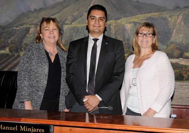 At last night's city council Manuel Minjares was appointed Fillmore City Mayor, replacing former Mayor Carrie Broggie (left). Diane McCall (right) was named Mayor Pro-Tem.