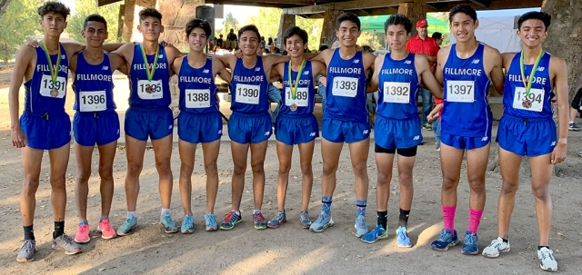 On Friday, October 18th the Fillmore Flashes Cross Country Team split up the squads and ran extremely well. Pictured is a group of 10 Flashes Cross Country runners who competed at Woodward Park in Fresno for a preview run for the State Championship Meet to take place in November. Photo courtesy Coach Kim Tafoya.