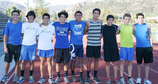 Boys XC CIF Team 2012 (l-r) Jose Almaguer, Frank Chavez, Adrian Mejia, Anthony Rivas, Hugo Valdovinos, Isaac Gomez, Nicolas Frias, Justin Beach and Alexander Frias. The flashes will compete at Mt. San Antonio College this Saturday in the CIF Prelim competition. Currently the Flashes are ranked #1 in division 4 for both CIF Southern Section and State.