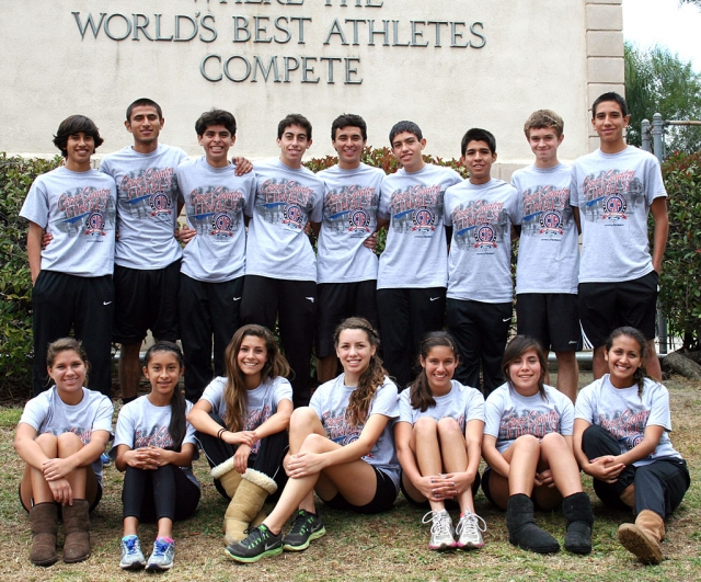 (l-r) (top) Frank Chavez, Hugo Valdovinos, Anthony Rivas, Alexander Frias, Jose Almaguer, Nicolas Frias, Adrian Mejia, Justin Beach and Isaac Gomez. (bottom) Jordyn Vassaur, Irma Torres, Kiana Hope, Laura Garnica, Alexis Tafoya, Sofia Gallardo and Maria Villalobos. The Fillmore Cross Country team, both boys and girls, competed at the CIF Finals this past Saturday. The boys finished 3rd in the Southern Section Finals Division 4 and advanced on to the State Finals in Fresno this Saturday at Woodward Park. Way to run flashes!