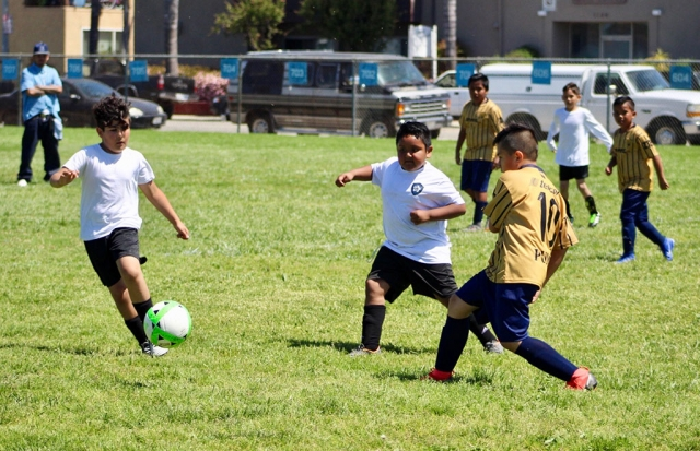 Pictured is a California United player from the 2010 boy's team as he and a fellow teammate try to get past the Fusion/White defenders in Saturday's game. Photos courtesy Erika Arana.