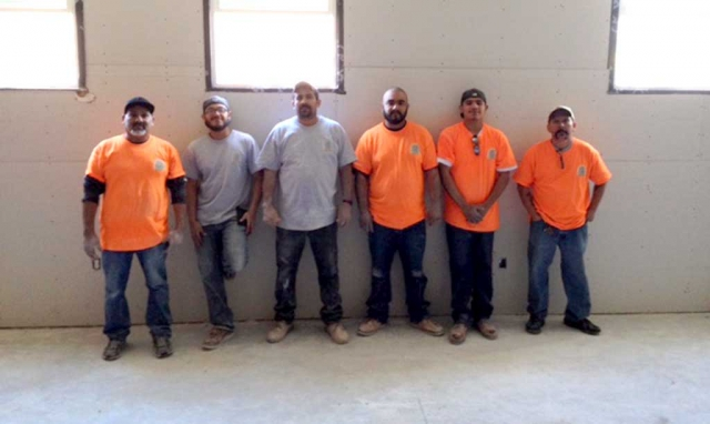 Anthony Ventura and put together a drywall crew from Local #150 who donated their time to hang drywall at the Boys & Girls club new Teeen Study Room. Their hard wrok and dedication to the project is much appreciated. These are the amazing drywall crew from Local #150: Freddie Zuniga, Adrian Arenas, Anthony Ventura, Benjamin Arroyo Tena, Juan S. Vasquez and Manuel Vargas.