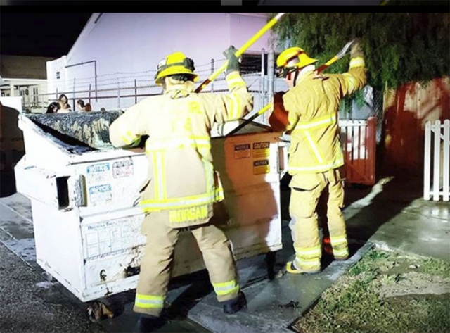 On Sunday, July 1st in the 300 block of Fillmore Street at approximately 10pm Engine 91 responded to calls about a dumpster fire. Cause of the fire is unknown. Photo courtesy Fillmore Fire.
