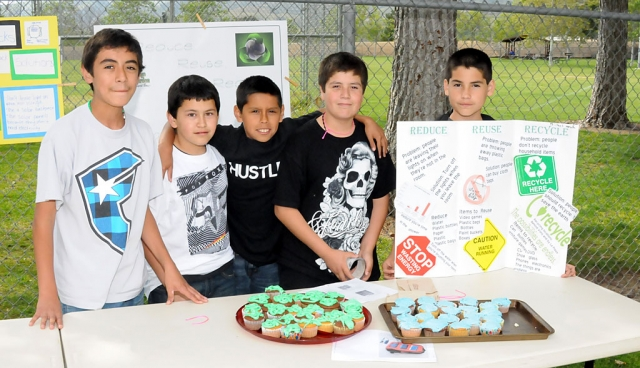 Last week Fillmore Middle School celebrated Earth Day. Above, five students show how you can Reduce, Reuse,