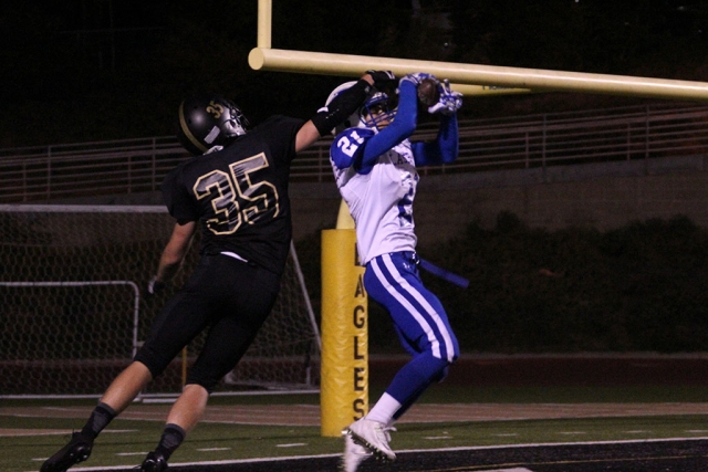 Damien Gonzalez intercepts touchdown throw in endzone. Photos courtesy Crystal Gurrola.