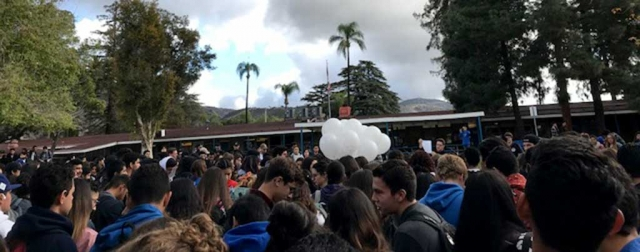 On Friday, March 15th Fillmore High School students gathered in the quad for the student walkout in honor of the Florida school shooting victims. The students stood silent for 15 minutes, as they released balloons to honor those victims. Photo courtesy Katrionna Furness.