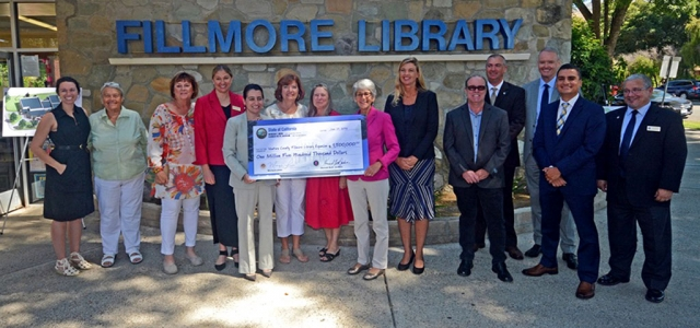 (above) On Monday, August 5th at 10:15 a.m. at the Fillmore Library, Director Nancy Schram and District Supervisor Kelly Long accepted a State funding check for $1.5 million to be used on the Fillmore Library Expansion Project. The Fillmore Library received $1.5 million in State funding to support the Fillmore Library Expansion Project. A huge thank you to California Assembly Member Monique Limon and Senator Hannah Beth Jackson, who were crucial in getting the needed funds for the library expansion in Fillmore on the State's radar, and we are so grateful for their efforts. The expansion will include a STEM MakerSpace, a classroom, several study rooms, new public computer stations, and effectively double the footprint of our existing library. We are so excited for the opportunities this will provide for the community of Fillmore, and are so grateful for all the support we have received to bring us to this point! Courtesy Ventura County and Fillmore Library Facebook pages.