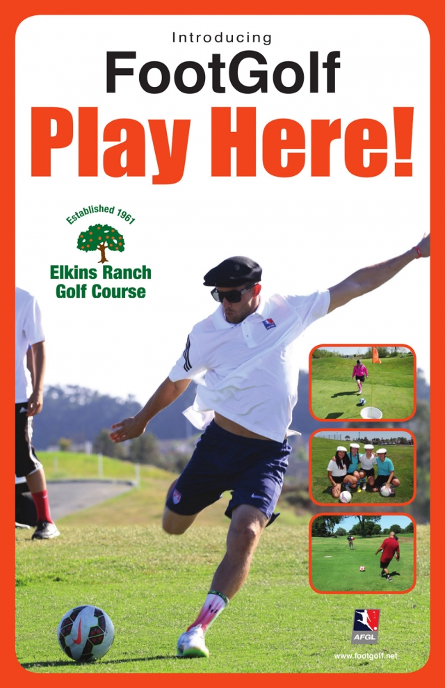 Elkins Ranch is happy to announce the Grand Opening of FootGolf on April 4th, 2015.  Footgolf is a combination of soccer and golf.  The game is played with a regulation soccer ball on the actual golf course on shortened holes with 21 inch diameter cups.  Elkins Ranch FootGolf course was meticulously designed by Superintendent, Jeff Naas and Head Golf Professional, Colby Hartje.  They put a great deal of thought and detail into the design to ensure player satisfaction.  Elkins Ranch would love to invite you out to our Grand Opening tournament on Saturday, April 4th, 2015.  Please call 805-524-1121 for more information.