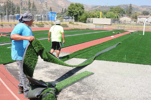 Fillmore High School's turf football field renovations are nearly complete. Looks as though it might be done