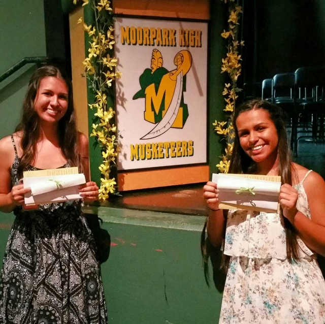 Mimi Burns and Susan Banks attended Moorpark High School Awards night to present Community Scholarships to Bailey and Sierra Huerta. Both girls reside in Fillmore and will be attending Universities in the fall. Sierra is an avid athlete and Bailey is a talented artist.