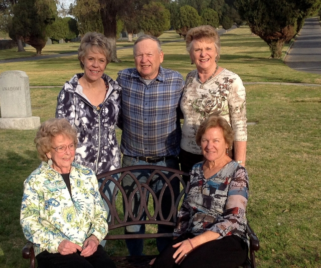 Standing, Cemetery Board members Rita Rudkin, Scott Lee, President and Lynda Edmonds. Seated, Garden Club members, Maxine Merry (Fillmore) and Lora Clarke (Ventura), current Vice-President.