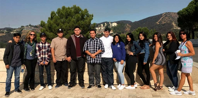 Sierra High School's World History Class at the Getty Museum (l-r) Nat Lomeli, Kim McMullen (counselor), Arnulfo Garibay Barragan, Jose Villa, Estevan Garcia Gomez, Will Espinoza, Juan Orozco, Viviana Garcia, Stephanie Ceja, Maria Duenas Gonzalez, Priscilla Almanza, Angie Velez, and Phyllis Morton (History Teacher). Photo Courtesy Kim McMullen.