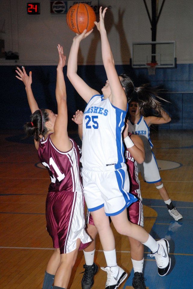Jaynessa Loez #25 goes up against Santa Paula's Defense. Fillmore lost to Santa Paula 41-51.