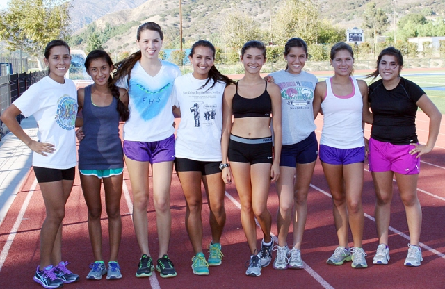 Fillmore Girls XC (l-r) Briana Segoviano, Irma Torres, Laura Garnica, Maria Villalobos, Kiana Hope, Alexis Tafoya, Jordyn Vassaur and Sofia Gallardo. The lady flashes advanced to CIF Prelims last Thursday. They are scheduled to race at Mt. San Antonio College on Saturday.