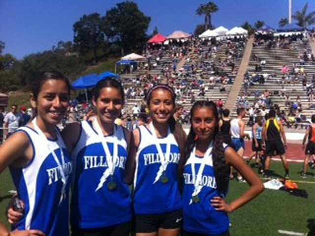 Girls FS (l-r) Briana Segoviano, Alexis Tafoya, Maria Perez and Irma Torres. Santa Barbara Easter Relays, frosh soph girls' relay team medaled in both the 4 x 800 (3rd) and Distance Medley (4th).