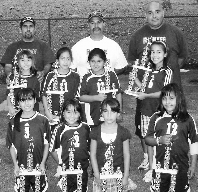 First row (Left to Right); Coaches Filiberto Magana, Joe Magana, Ram Tobias. Second row;Yanelli Cobian, Alexis Mejia, Aaliyah Lopez, Yareli Vasquez. Third row Stephanie Magana, Valerie Tobias, Jalynne Magana and Arianna Magana. Not pictured Leanna Venegas.