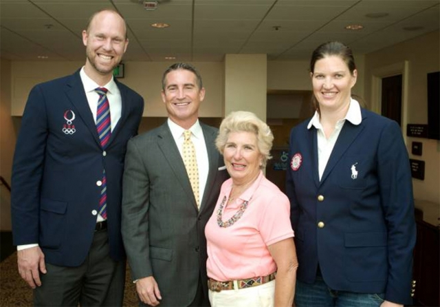(l-r) Gabe Gardner, 2008 Olympic Gold Medalist in Volleyball; Assemblyman Jeff Gorell; Starr Walton Hurley, 1960 Winter Olympian; Stephanie Brown Trafton, 2008 Olympic Gold Medalist in Track and Field.