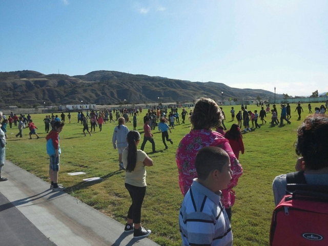 On Monday May 12th principal Mr. Torres surprised Rio Vista students by letting them know they can now run and play on the grass. Only 22 days left of school but it didn't appear to matter to these students! The students were so surprised.