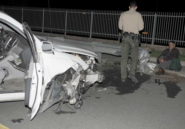 Saturday, at 8:00 p.m. a vehicle crashed into the barrier on A Street across from Fillmore Middle School. The driver's identity has not been available. No passengers or injuries were reported. No cause for the accident has been reported. The vehicle crossed the northbound lane and landed across the southbound lane.