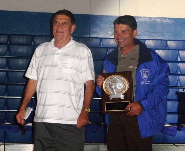 (l-r) Hall of Fame inductee Jim Fauver with his son Jeff Fauver. [Photo's courtesy Dick Diaz]