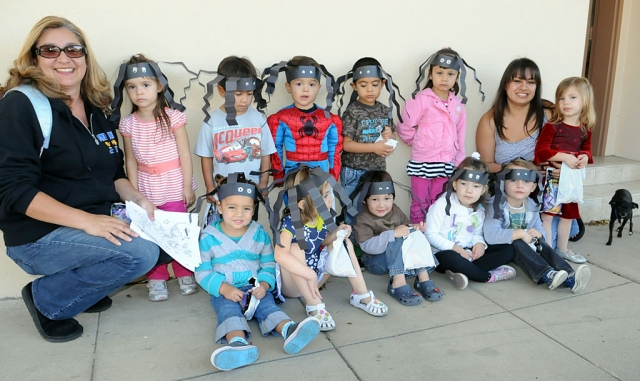 Miss Martha and Miss Salina of Sonshine Preschool escorted a bunch of Scary Spiders to the Santa Barbara Bank for Halloween treats. Gazette mascot, Pebbles, enjoyed the extra pets.