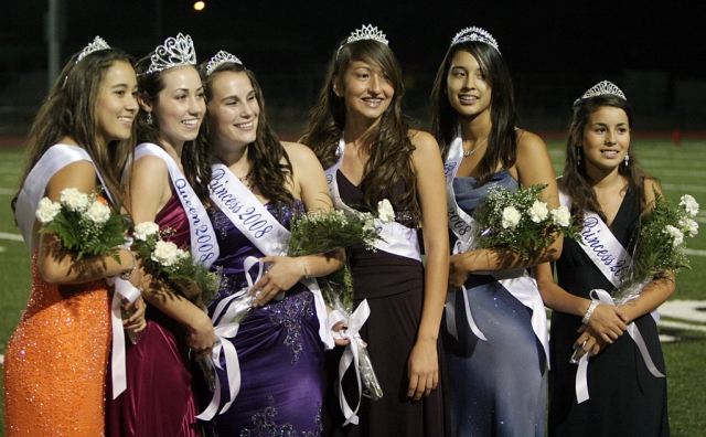Pictured (l-r) are the 2008 Homecoming court- Princess Rebeca Herrera, Homecoming Queen Brina Suttle, Princess Jill Wilber, Sophomore Princess Angelica Gonzalez, Junior Princess Victoria Ayala, and Freshman Princess Anissa Magdaleno.