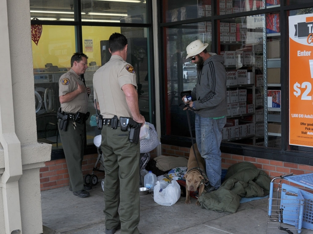 Ventura County Sheriff's deputies responded to several complaints concerning homeless men at the Vons Center. The men, and two to four sometime companions, have been camping-out at the west end of the center for several days with sleeping bags, pit bulls and other belongings. The men complied with the deputies instructions to vacate the area shortly thereafter.