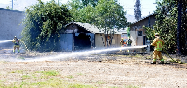On Tuesday, July 29th at 2:42pm, Fillmore Fire and Fillmore Police responded to reports of a fire in the 600 block of Ventura Street/SR-126. Once on scene crews found an abounded residence in flames, spreading to a quarter acre of surrounding brush. The fire was extinguished and by 3:07pm the fire was knocked down. Cause of the fire is still under investigation.