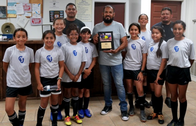 California United FC Girls 2008 Bronze Beta team would like to thank Jim's Fillmore Towing for donated carwash stalls so we could have a carwash and make money for our team to buy equipment for the team. Their donation helped the team buy much needed equipment. Pictured above (l-r) are Danna Castillo, Sara Diaz, Jazleen Vaca, David Vaca (HC), Joelle Rodriguez, Fiona Cabral, Baltazar Cordero, Alondra Leon, Lizbeth Mendez, Aciano Mendez (AC), Anel Castillo and Valerie Rubio. Not Pictured: Leanna Villa, Delila Ramirez, Nevaeh Nappi, Nathalia Orosco and John Cabral (AC). Photo courtesy Maria Alvarez.