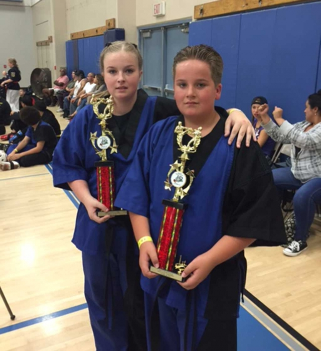Self-Defense Division, 1st place Austin Gunter, age 11; 2nd place Samantha Gunter, age 18.