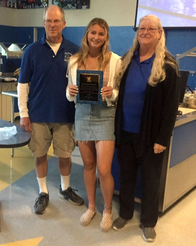 2018-19 FHS Outstanding Swimmer of the Season & Citrus Coast League MVP Katrionna Furness, with Coaches Mike and Cindy Blatt.