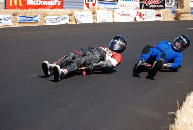 Christian is shown making a pass on his Classic Luge. Legend has it Maryhill is the first paved road in the Pacific Northwest.